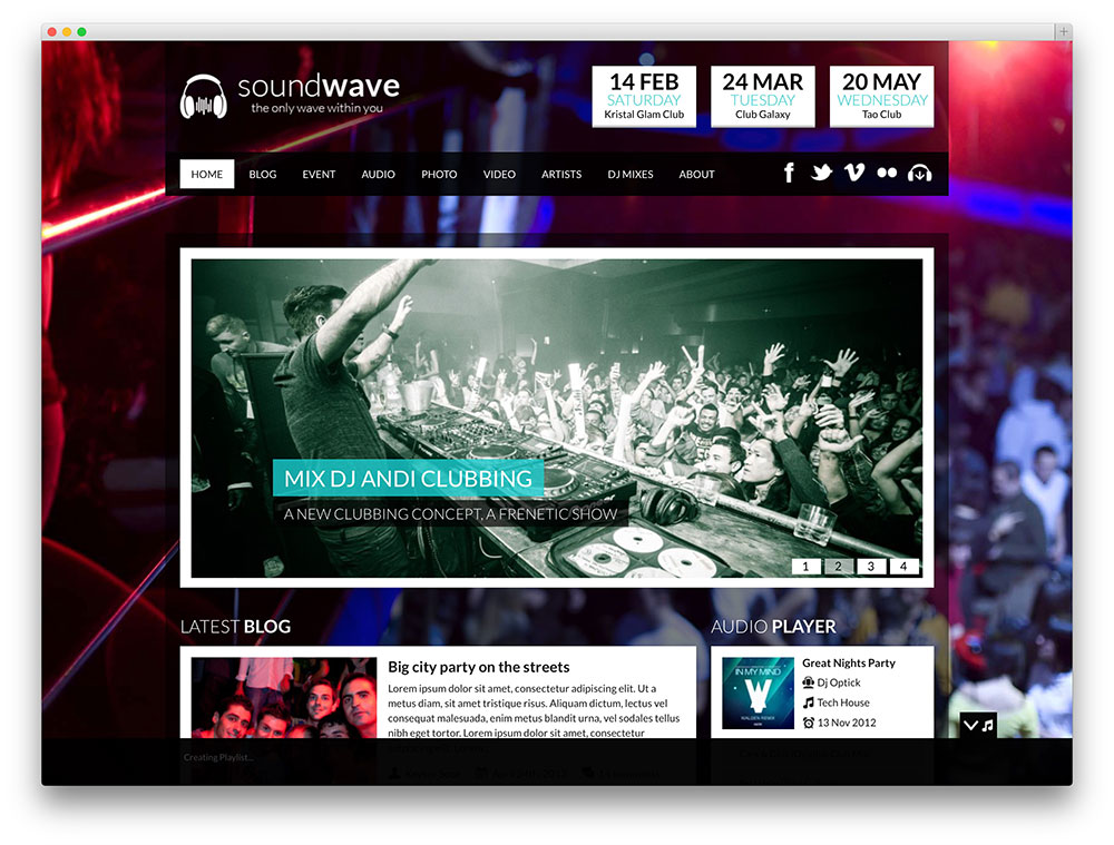 soundwave nightclub wp theme