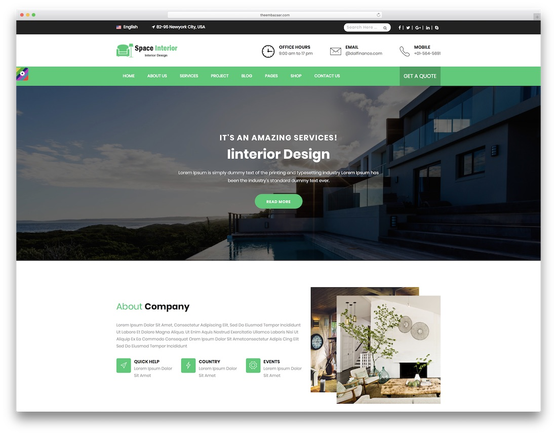 space interior design website template