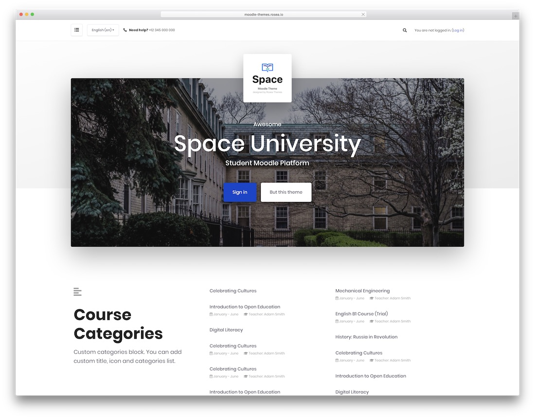 space moodle bootstrap template