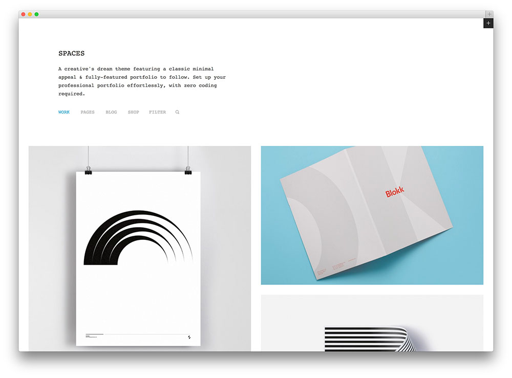 spaces clean ecommerce and portfolio