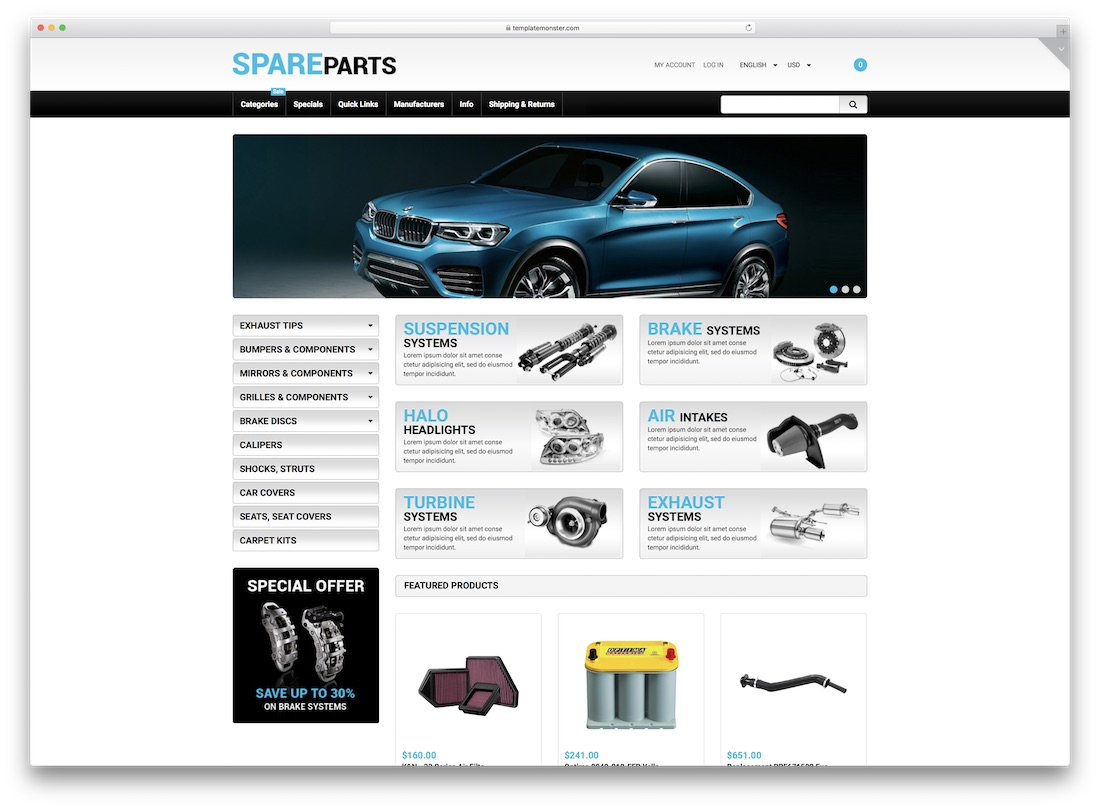 spare parts zen cart template