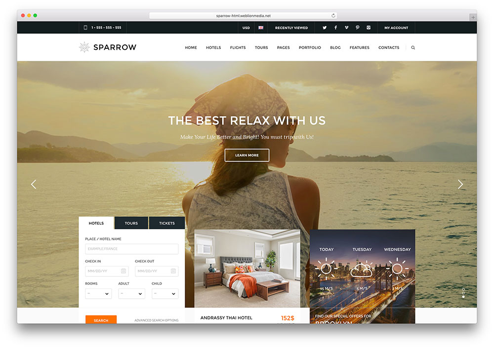 21 top creative html5 travel website templates 2018 colorlib sparow travel booking html5 website template sparrow is an extraordinary html maxwellsz