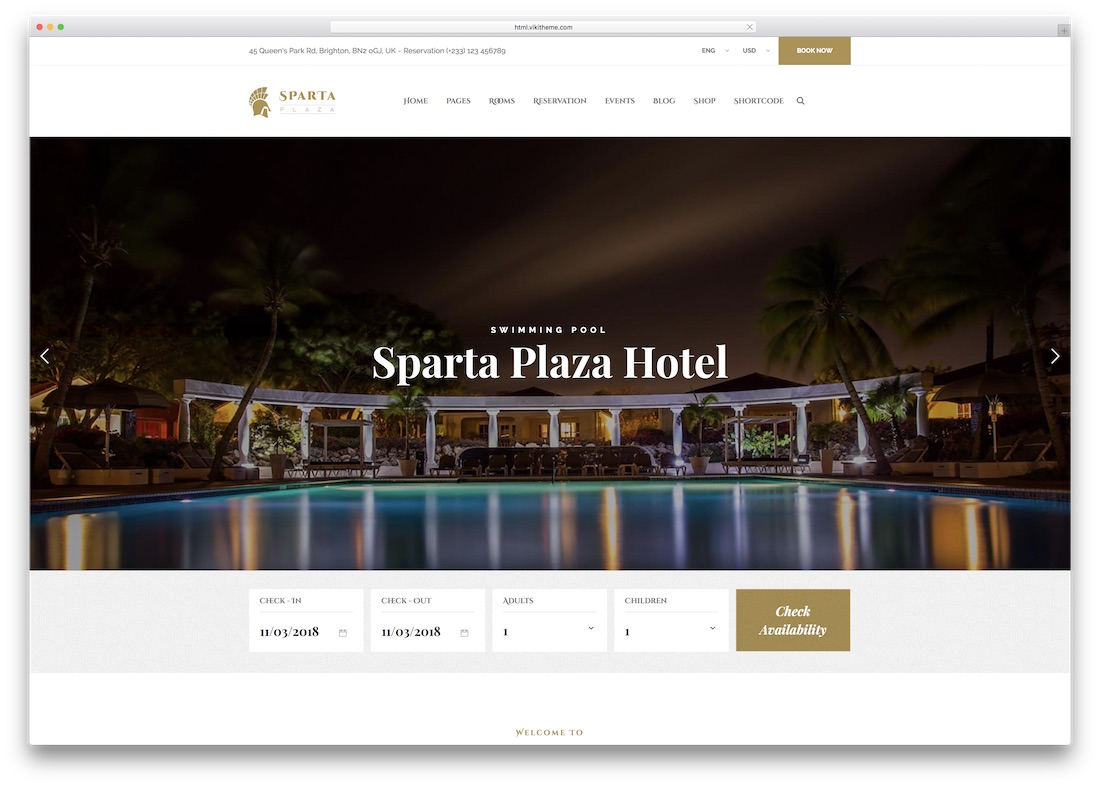 sparta html5 hotel website template