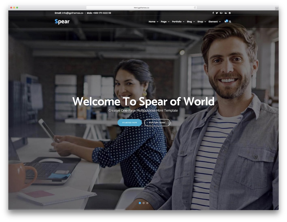 spear html5 one page website template