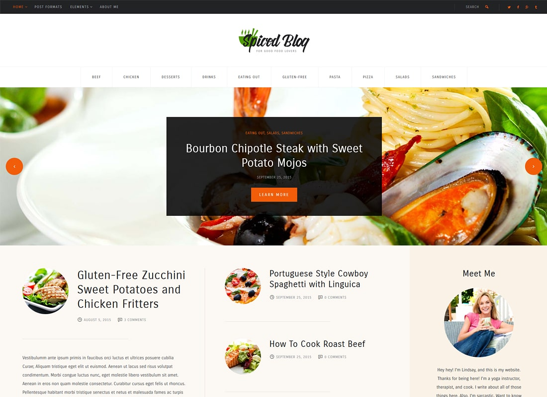 Spiced Blog | A Crisp Recipes & Food Personal Blog WordPress Theme