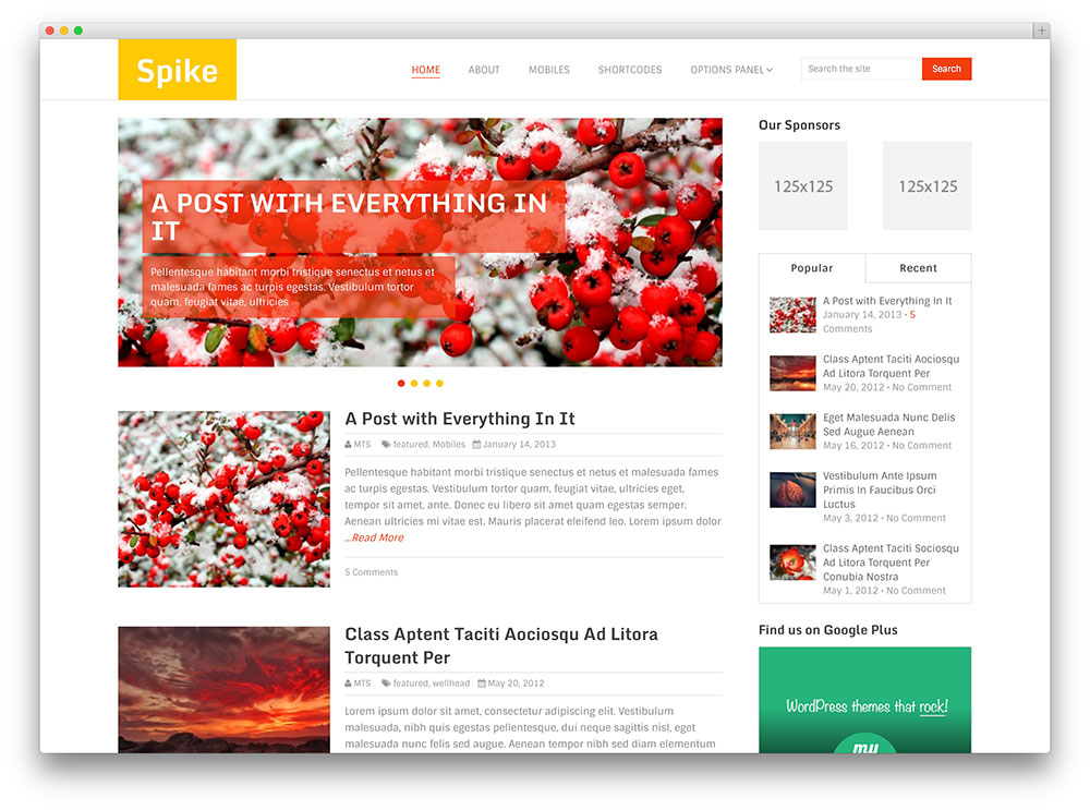 spike beautiful blog theme