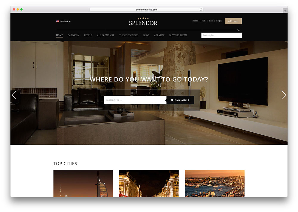 50 best wordpress travel themes for blogs hotels and for Hotel web design