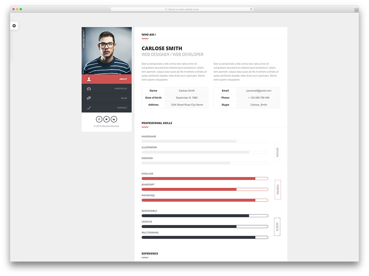 Split Simple Html Resume Website Template  Template Of A Resume