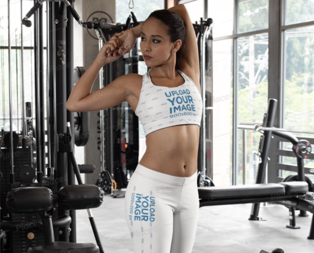 sports bra mockup of a woman with leggings stretching