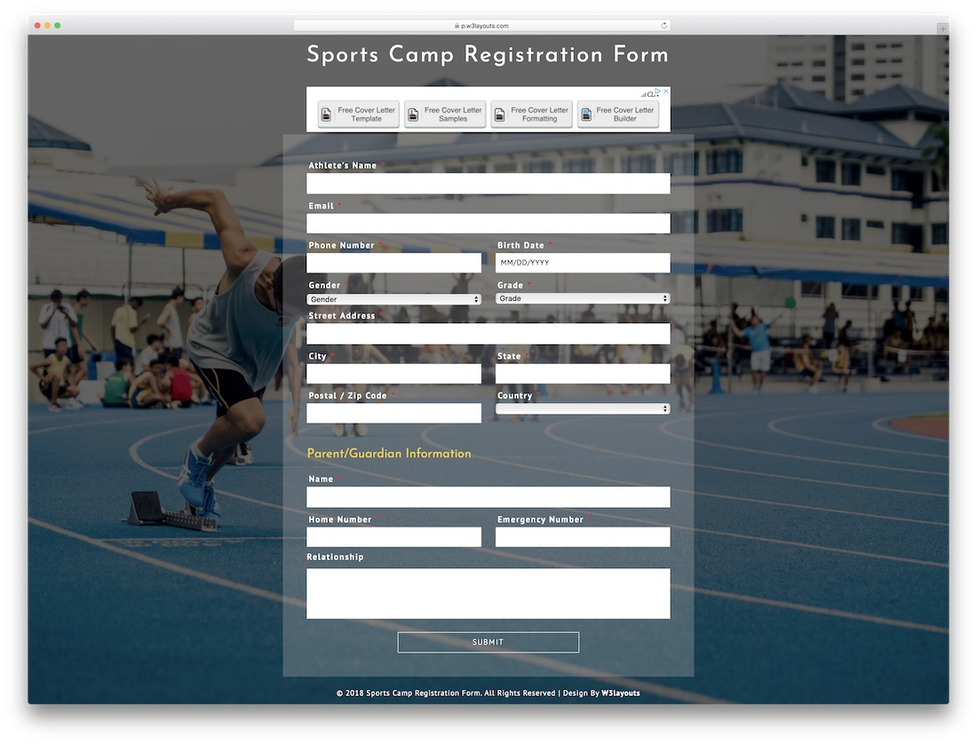 sports camp free bootstrap registration form