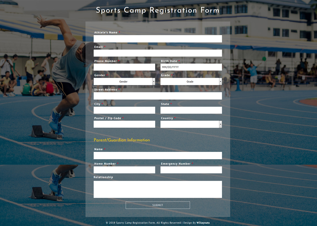 20 best free bootstrap registration forms for all sites colorlib sports camp registration form free bootstrap registration forms falaconquin