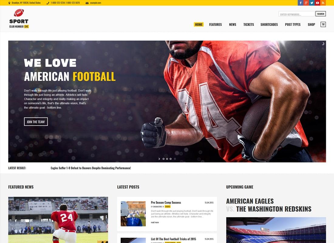 Sports Club | Football, Soccer, Sports News WordPress Theme