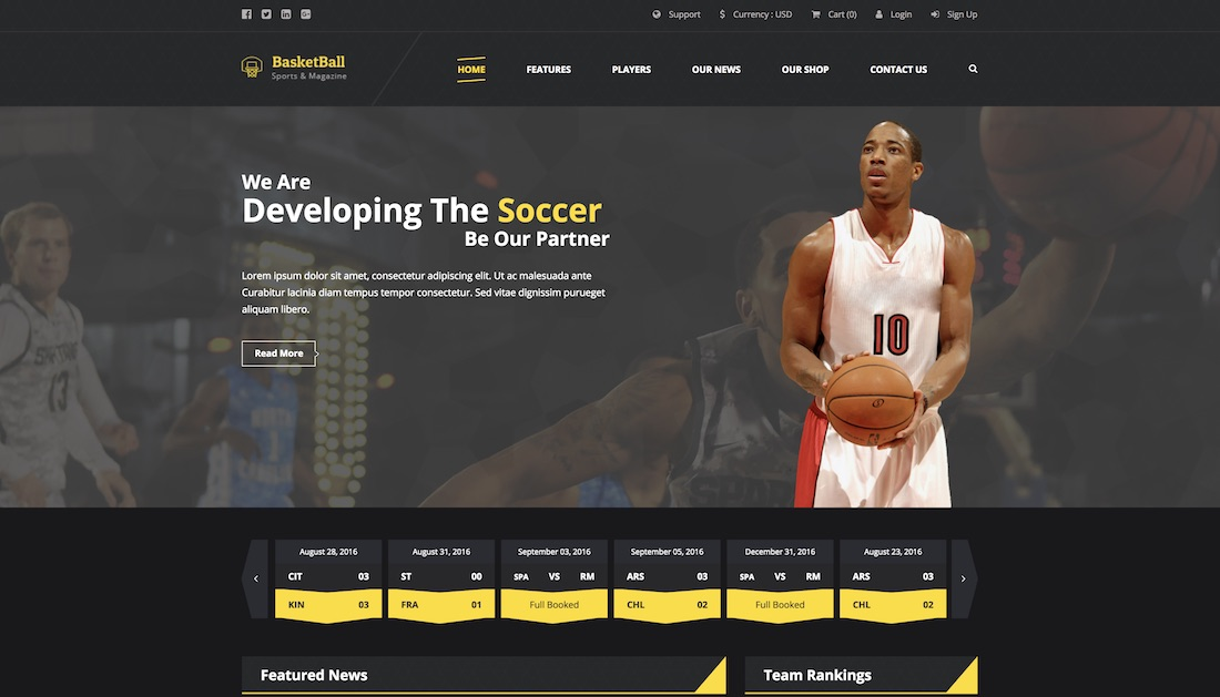 sports magazine website template