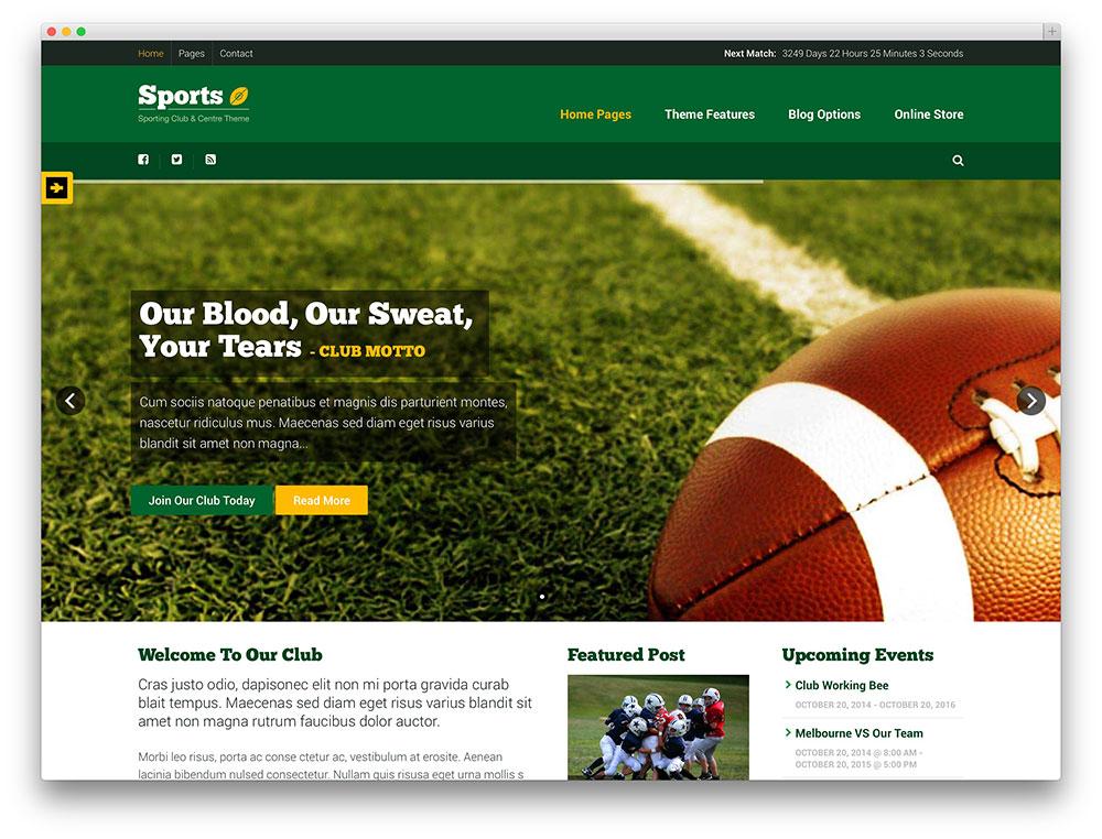 sports club wordpres theme