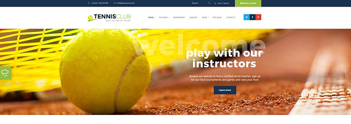 Tennis Club - Sports & Events WordPress Theme