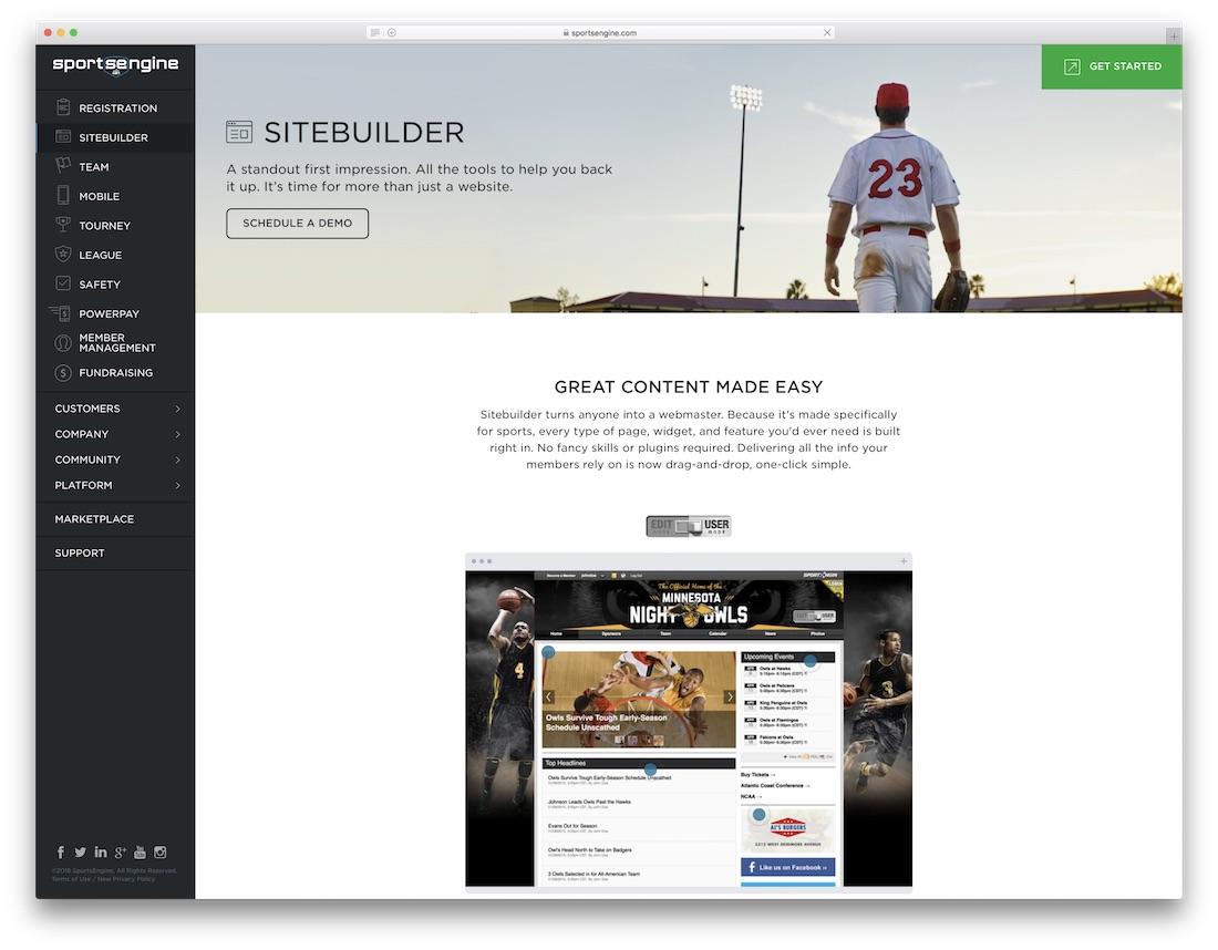 sportsengine sports website builder