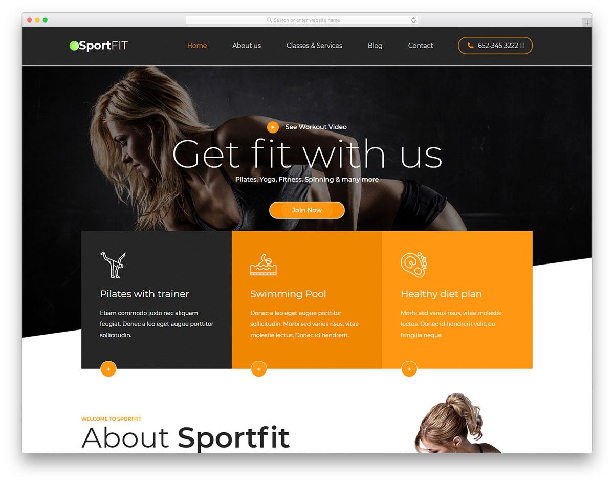 Скачать бесплатно html шаблон Sportsfit