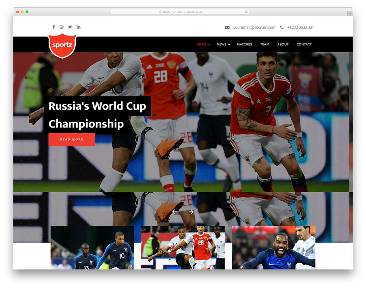 Скачать бесплатно html шаблон Sportz