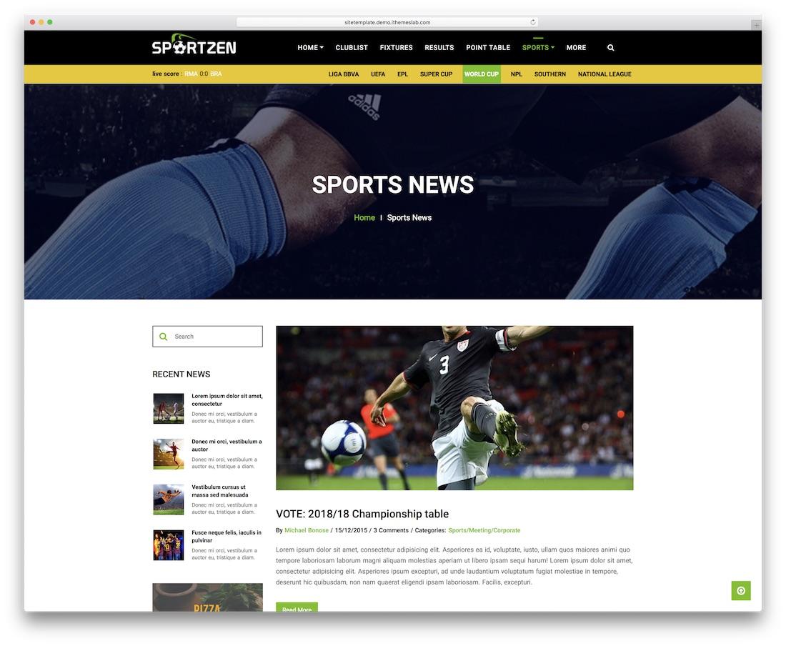 sportzen news website template