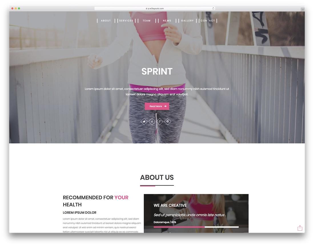 sprint free fitness website template