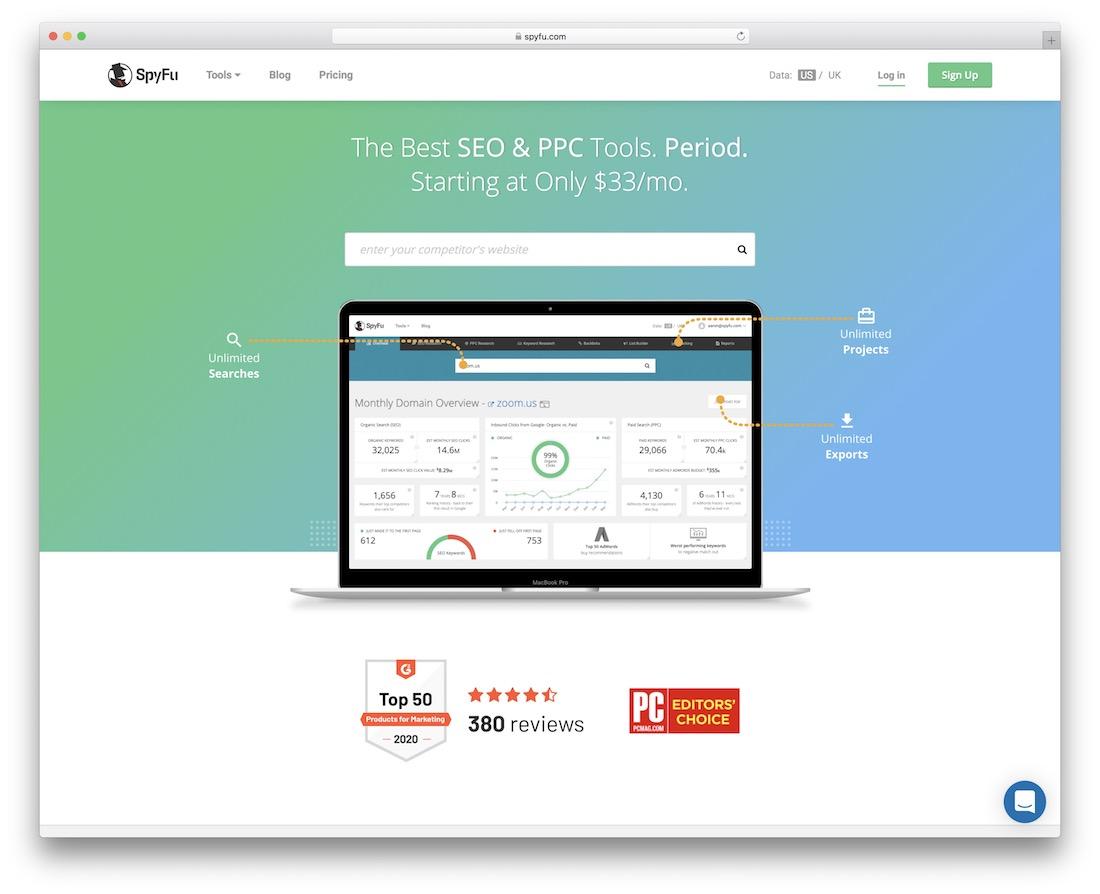 spyfu free seo ppc productivity tool