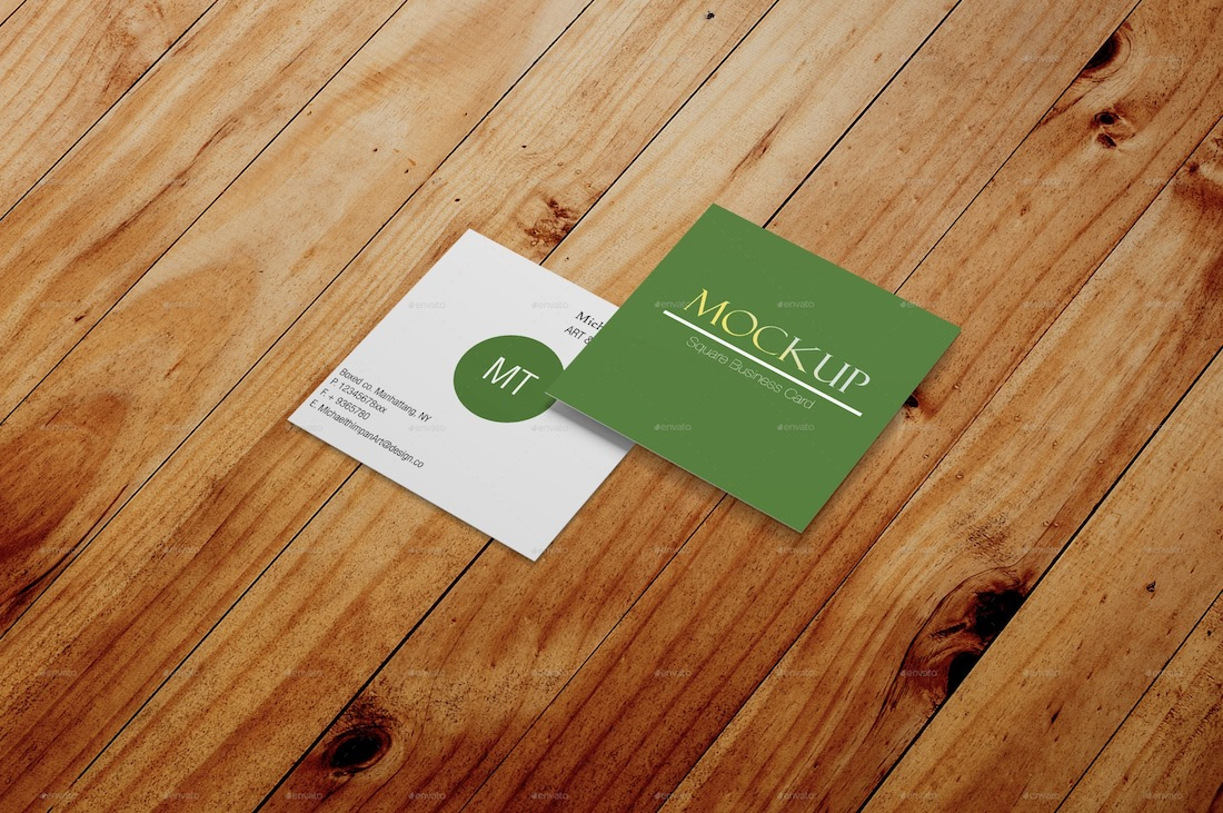 square business card mockup template