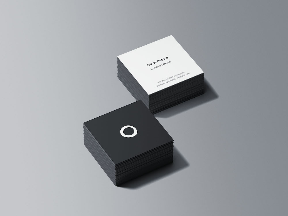 square business card stacks psd mockup
