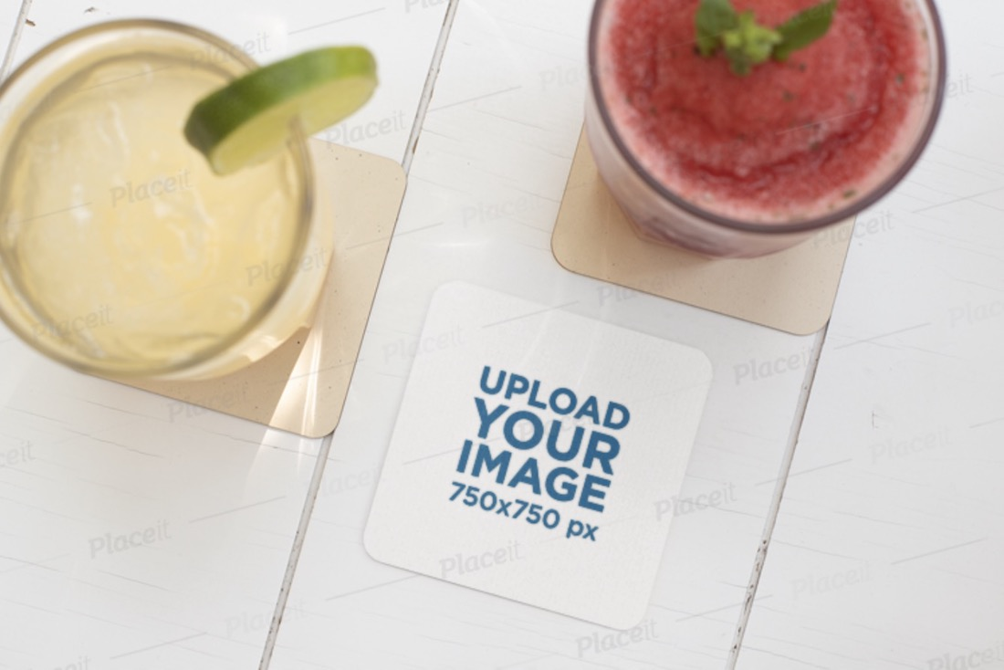 square coaster mockup featuring two drinks
