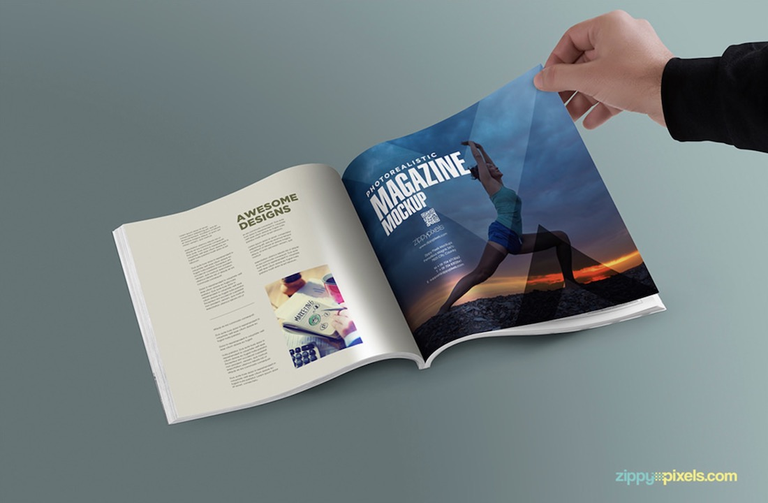 square magazine realistic psd mockup