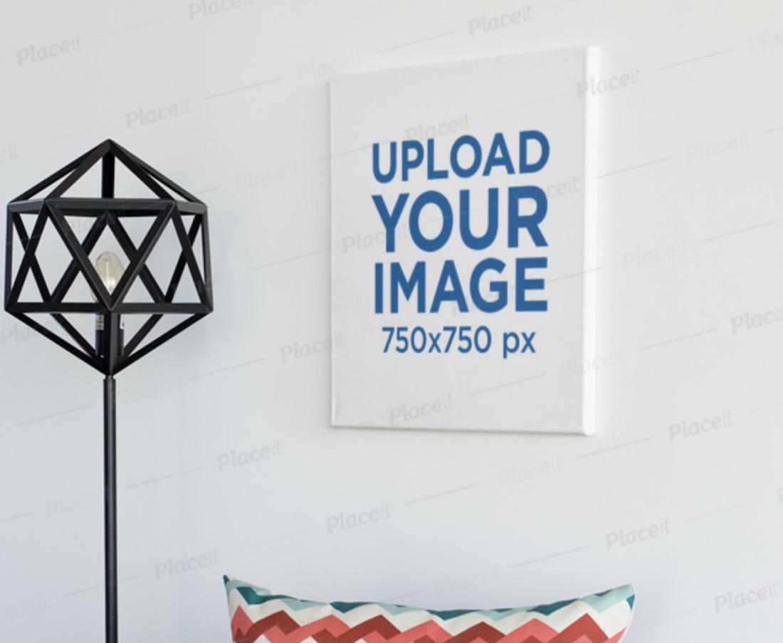 square poster mockup in a minimalistic room