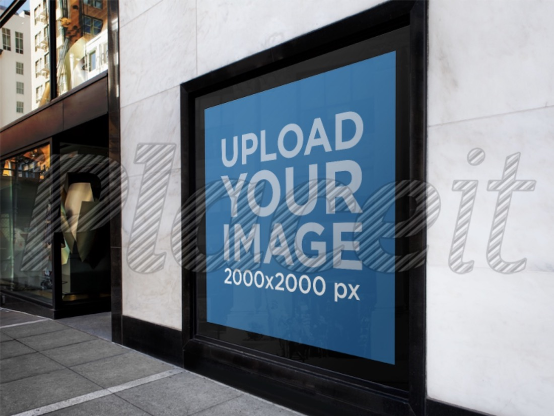 square poster on the street mockup