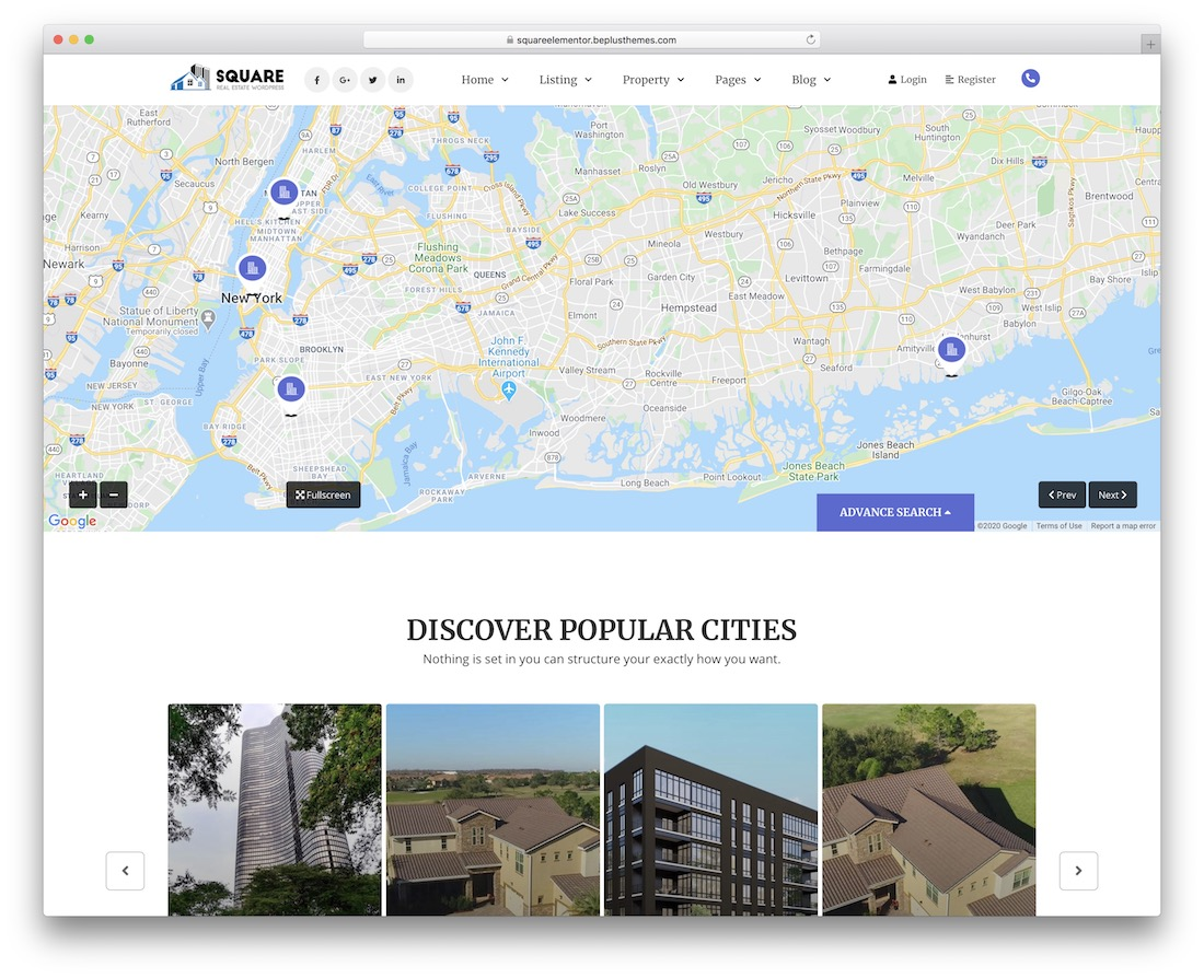 square real estate wordpress theme