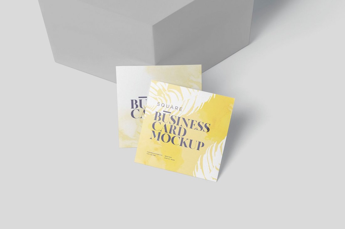 square shaped business card mockups