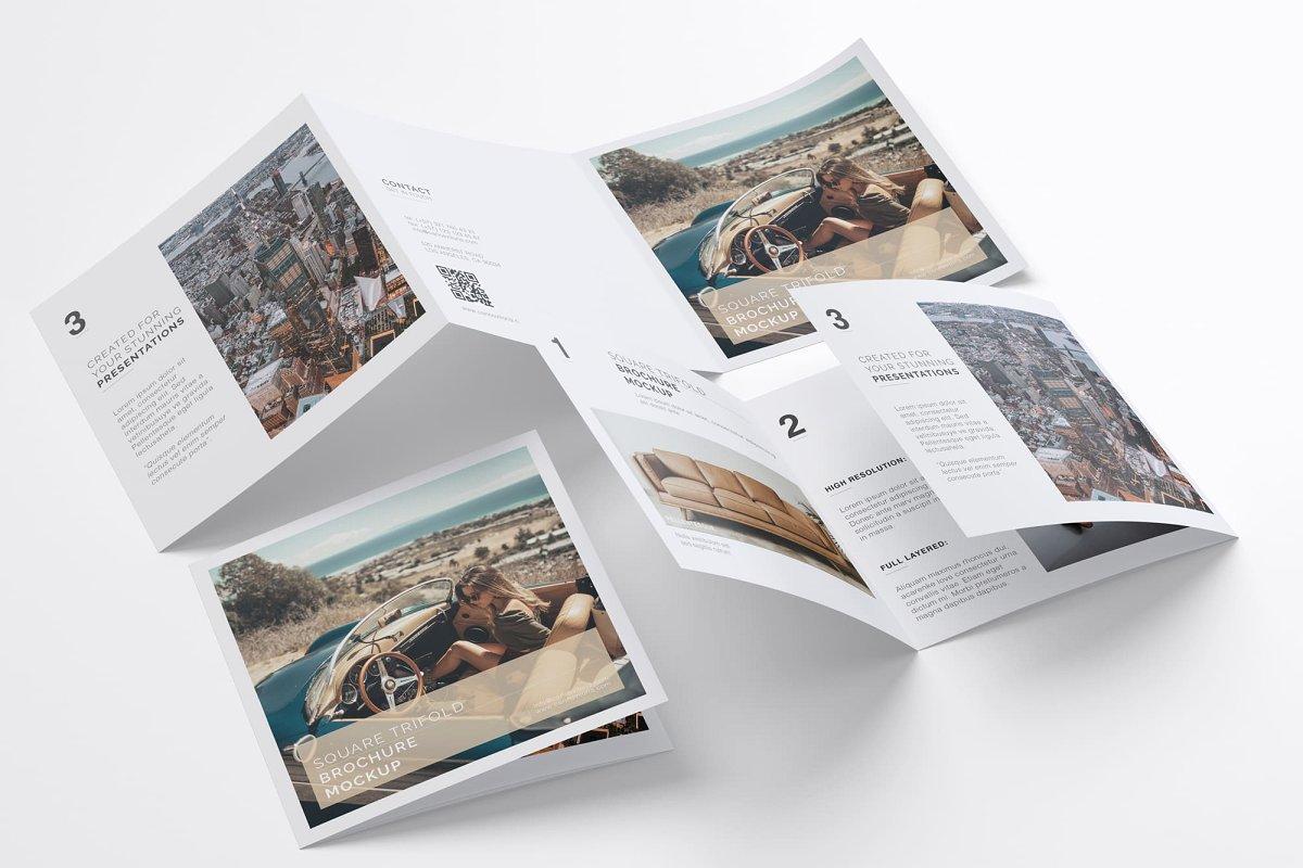 Square Trifold Brochure PSD Mockup