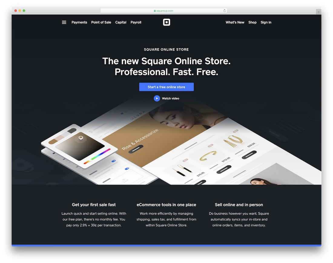 square website builder for online clothing store