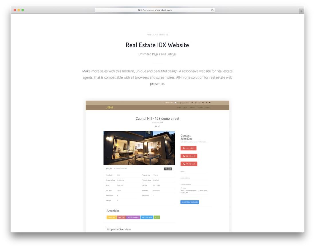squarebob real estate agent website builder