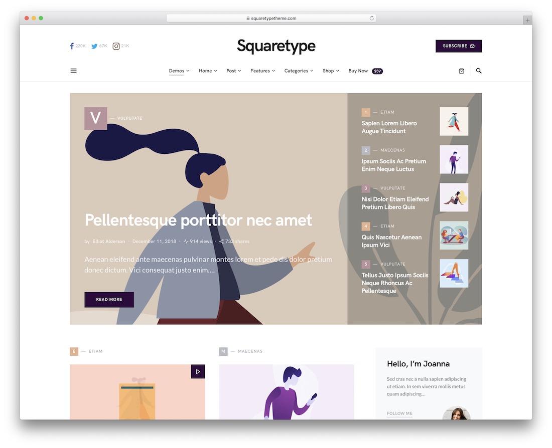 squaretype corporate blog theme