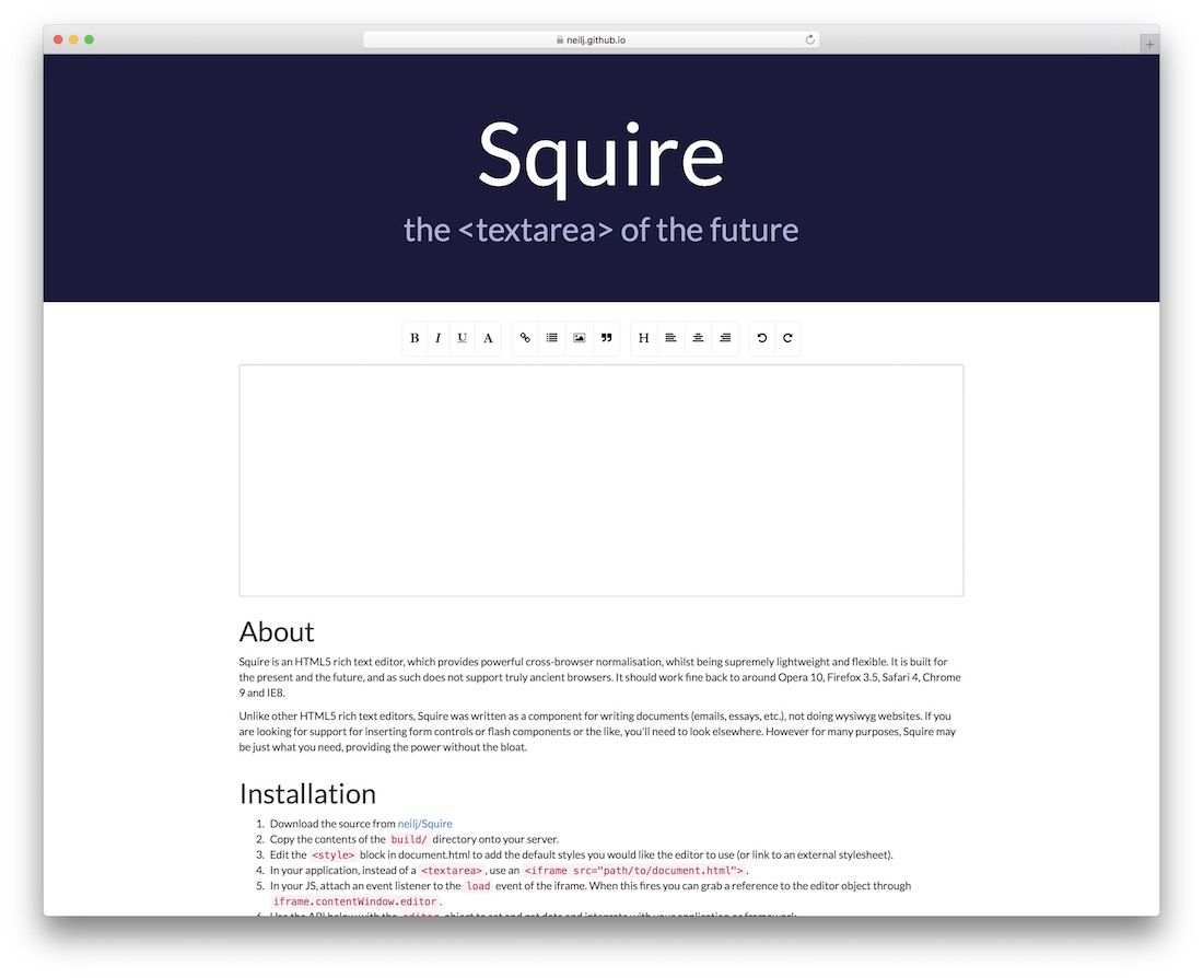 squire text editor for html5 developers