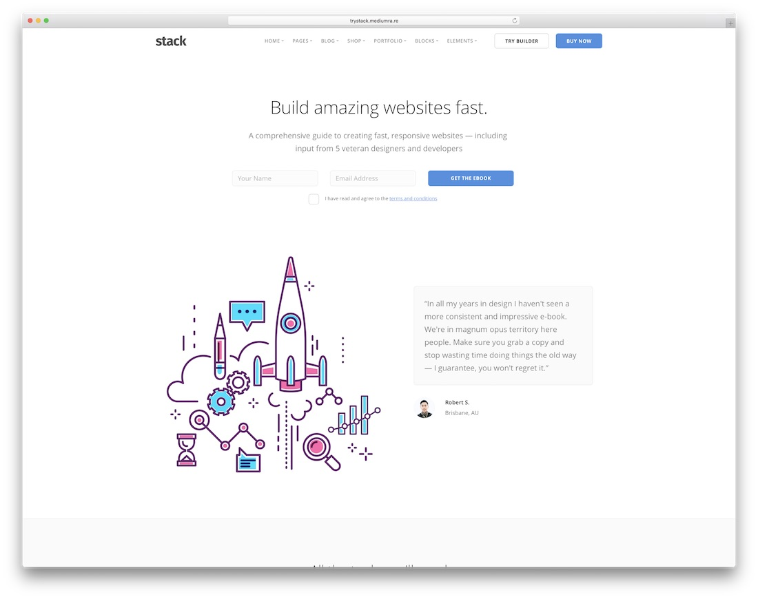 stack interactive website template