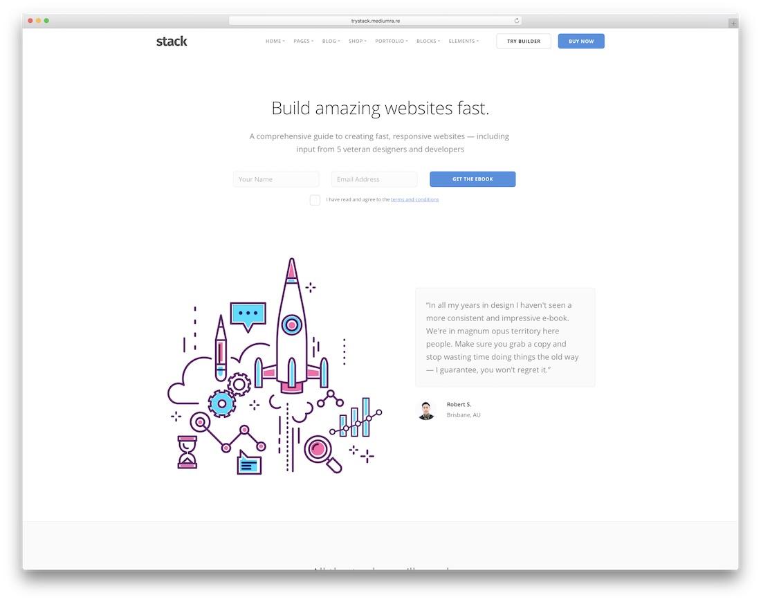 stack interactive website template
