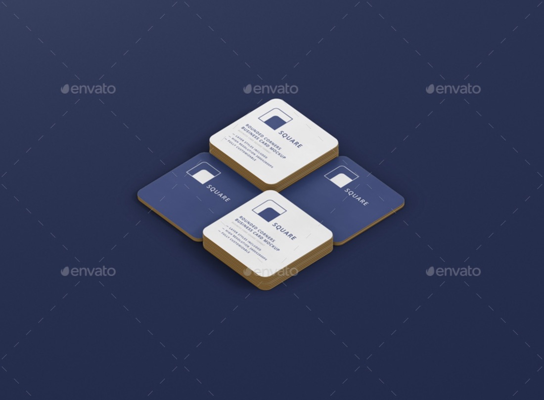 stack of square business card with round corners mockup