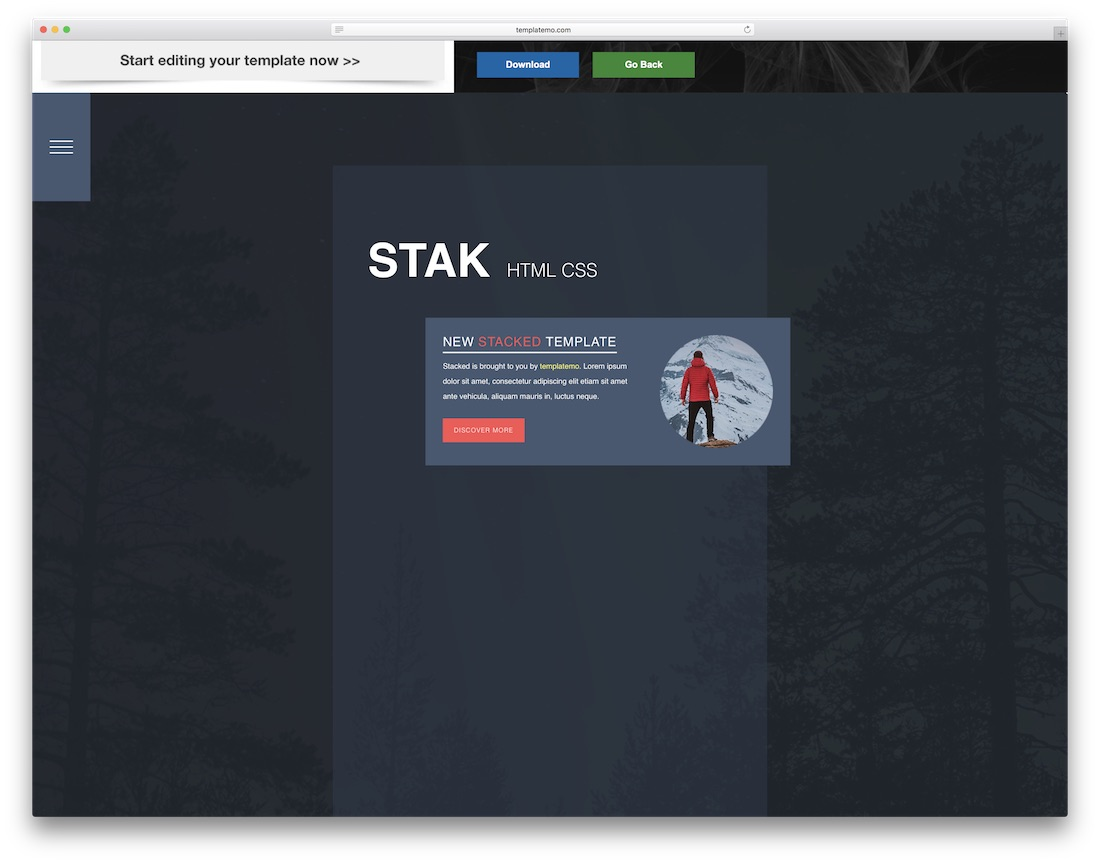 stak website template
