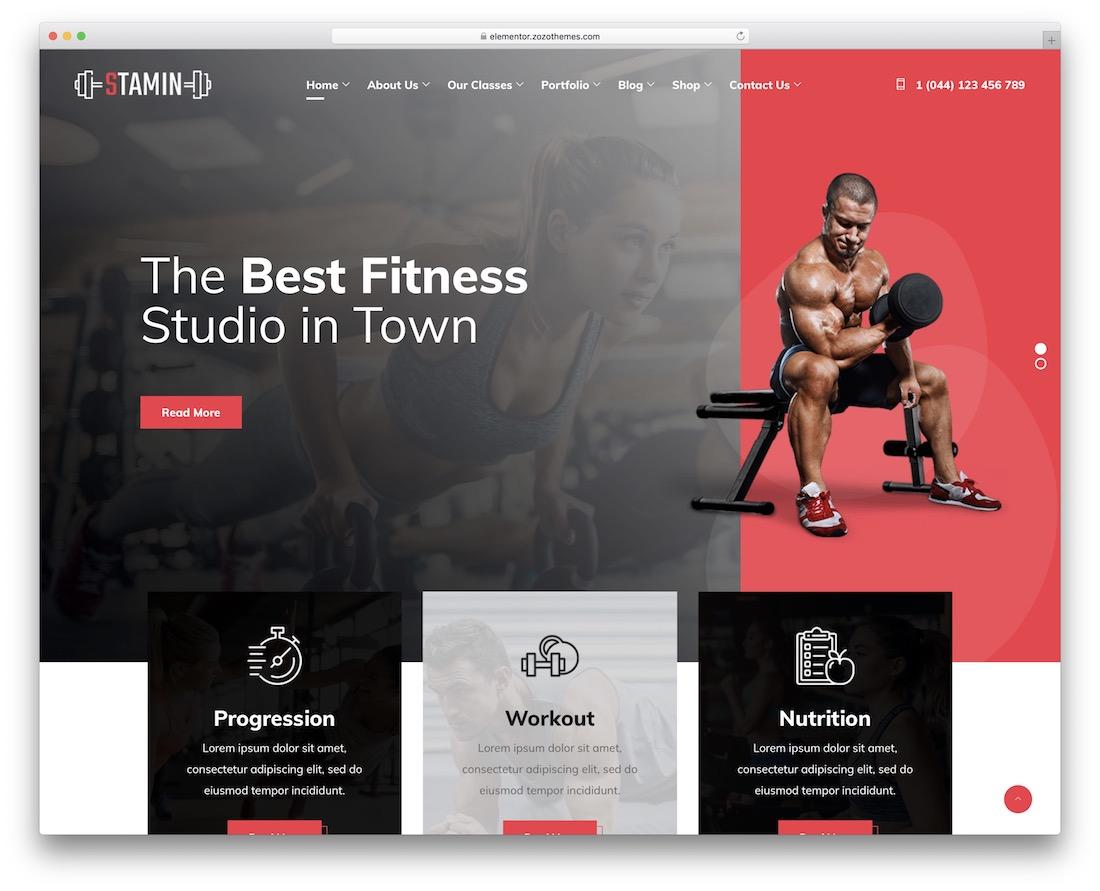 stamin wordpress fitness theme