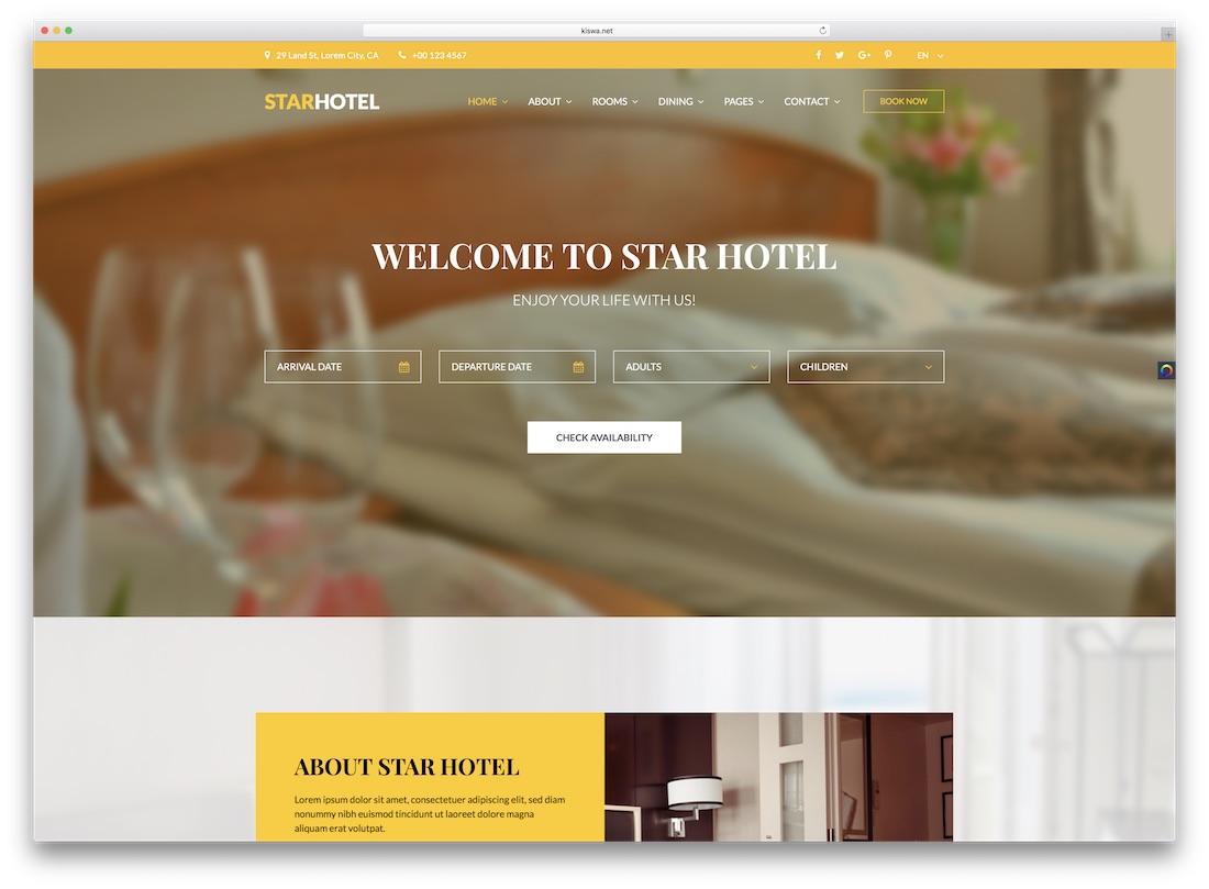 star hotel travel website template