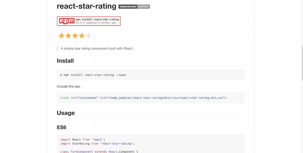 star rating component built with React