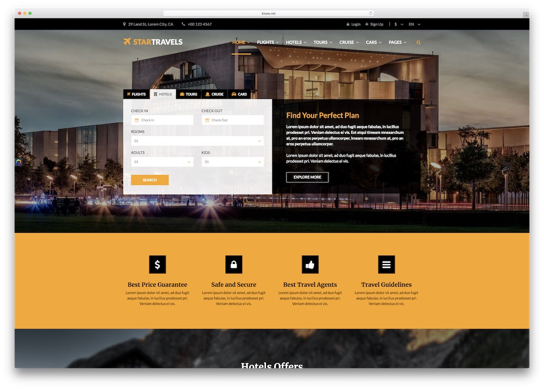 star travel html5 hotel website template