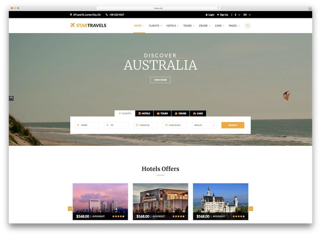 star travel website template