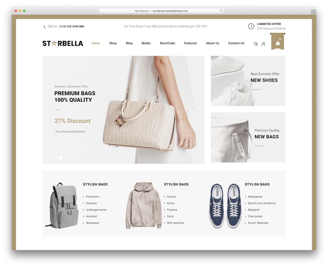 starbella woocommerce wordpress theme