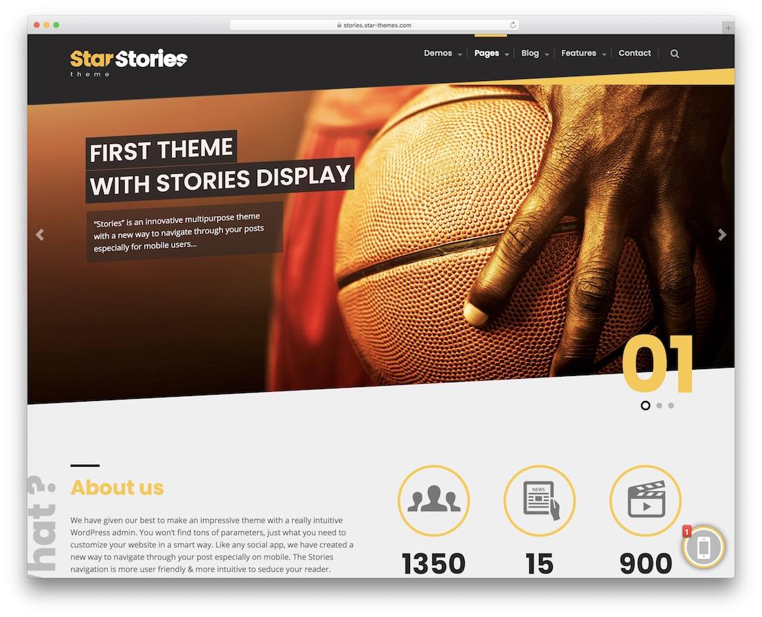 starstories wordpress sports theme