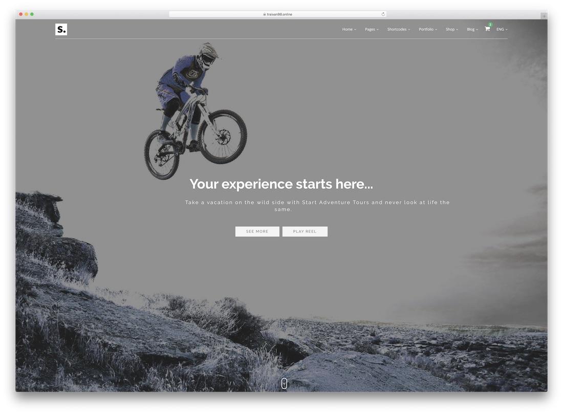 start travel website template